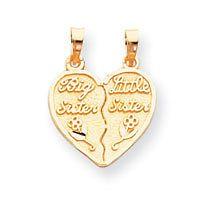 Satin 14k Yellow Gold 2 piece Break apart Big / Little Sister Charm