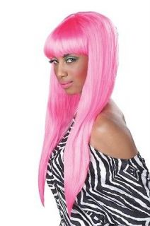 70047* BUBBLE GUM NICKI MINAJ PINK LONG STRAIGHT BANGS WIG HALLOWEEN
