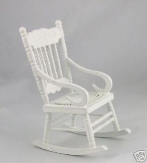 dollhouse miniature classic white rocking chair  6