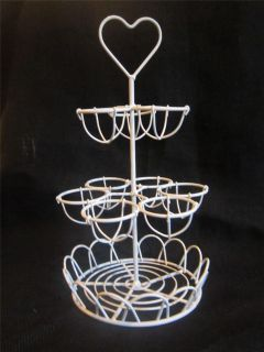 EGG RACK HOLDER METAL WHITE HEART WEDDING GIFT PRESENT KITCHEN COUNRTY