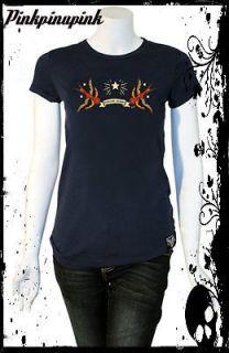 Sailor Jerry Capistrano Swallow Banner Tee Shirt Punk Pinup Rockabilly