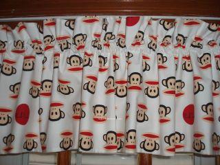 custom VALANCES with PAUL FRANK julius & friends sock MONKEY fabric