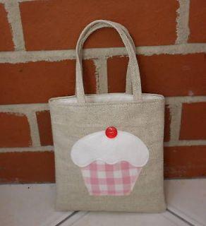 mini tote bag laura ashley fabric gingham pink cupcake time