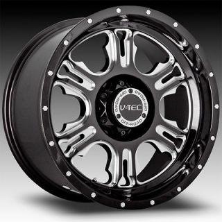 18 Inch 5x127 5x5.0 Black Milled V Tec Rage Wheels Rims 5 Lug 18x9