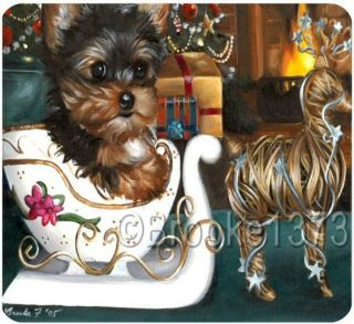 Yorkshire Terrier Christmas mouse pad YORKIE puppy original dog ART
