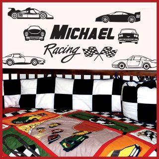 name racing cars vinyl wall decals stickers art 023 time