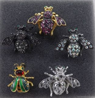 RIVERS CLASSICS COLLECTION 5 LOT OF BUG INSECT PIN BROOCHES RHINESTON