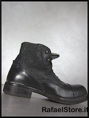 Shoes Ankle Boots 54202M.S Minerva Nero Black Leather Fur Inside New
