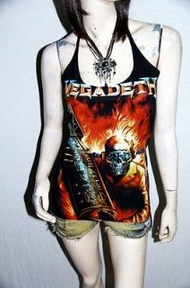 megadeth metal rock diy sexy halter tank top shirt