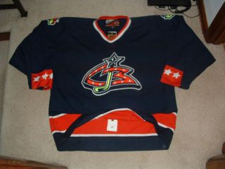 COLUMBUS BLUE JACKETS 1999 00 AUTHENTIC BLUE PRO PLAYER HOCKEY JERSEY
