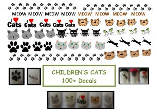 80 100 CHILDRENS CATS / DOGS / HORSES FINGERNAIL WATER DECALS