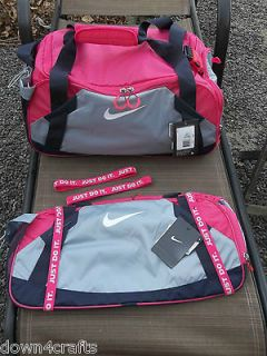 Gym Duffle Bag New Hot Pink & Purple + 2 Nike Just Do It Headbands