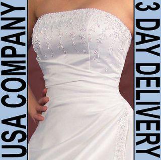 Elsa Corset Strapless Beaded Wedding Dress Gown Size 06 White   Brand