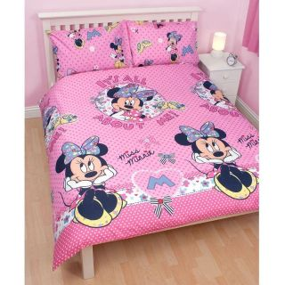 Minnie Mouse Double Duvet Cover & Pillowcase Set, Official Disney