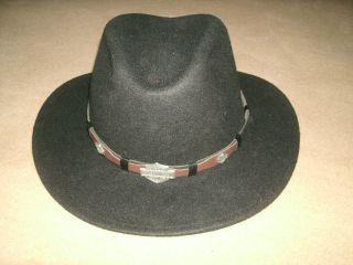 NEW * HARLEY DAVIDSON mens LEISURE FELT HAT WESTERN COWBOY sz XL