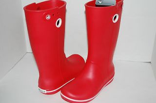 NWT NEW CROCS CROCBAND JAUNT WOMEN 8 RED rain boots galoshes WELLIE
