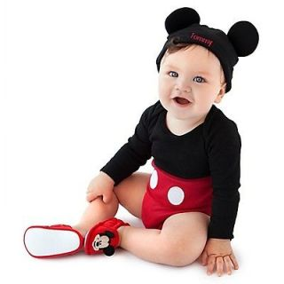 MiCkEy MoUSe~ORGANIC COTTON~Costume~ONESIE+HAT Cap +EARS~NWT~0 24