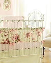Baby Lulu Bedding Crib Set Fleur Royale Bumper Skirt 2 Pc Pink Roses