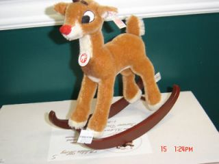 Steiff Mohair Rudolph Red Nosed Reindeer Rocking Base NEW MIB WHITE