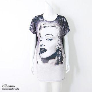 Rare Womens marilyn monroe printed graphic t shirt long top dress S M