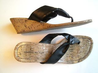 Montego Bay Club 2 Wedge Black Thong Cork & Metallic Gold Fleck