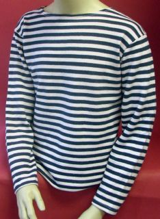 Soviet Russian NAVY WINTER TELNYASHKA Blue Striped SHIRT A+Qual