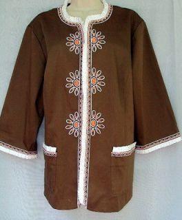 Gorgeous BOB MACKIE Wearable Art Blazer 1X Fall Jacket Lt Brown Orange