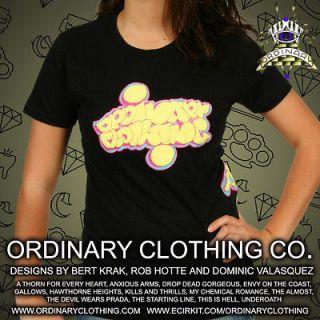 Ordinary Clothing   Womens Graffiti T Shirt ,emo/punk, tattoo, Iron