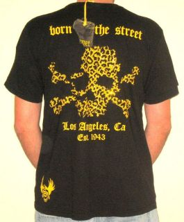 New Smet by Christian Audigier Men Black Panther T shirt W Rhinestones