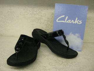 Clarks Walk Dazzle Black Patent Leather Slip On Toe Post Mule Sandals