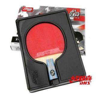 dhs 6002 ping pong table tennis bat paddle racket shakehand