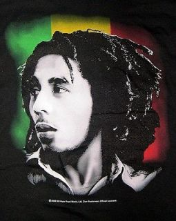 Bob Marley Reggae Colors black t shirt 1X and 2X Zion Rootswear