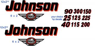 LG JOHNSON RED/BLACK OUTBOARD BOAT MOTOR DECAL,STICKER SET