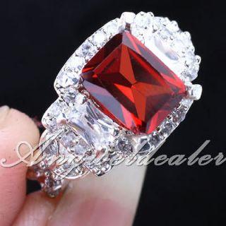 eLuna Rectangle Stone Red Garnet Silver Ring Size 8 Womens Fashion