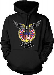 Hoodie Pullover Sweatshirt American Flag Eagle United States Patriotic