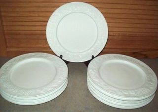 Hocking VITROCK White MILK GLASS Set of 10 Luncheon Plates Floral RIM