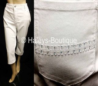 not your daughters jeans nydj petite white capri jeans size 16p lift