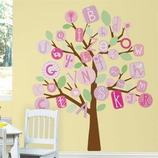ABC Pink Tree Peel & Stick Giant Removable Wall Decal Sticker Nursery