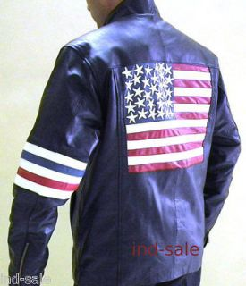 100% Leather Jacket EASY RIDER Peter Fonda US FLAG FIX SIZE M