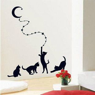 various colors)Owl Cats Decor Mural Art Wall Sticker Decal Y410