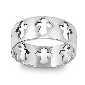 Sterling Silver Cross Ring Vintage Christian Religious Faith Band