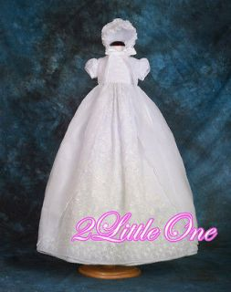 Lace Vintage Baptism Christening Gown Dress Bonnet Baby Girl Size 12