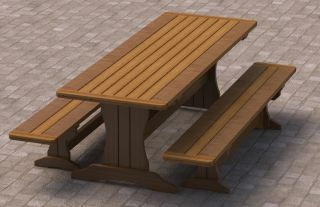 Trestle Picnic Table with Benches Plans