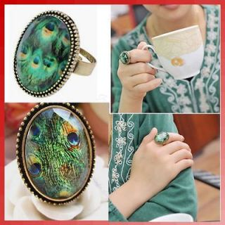 Retro Adjustable Peacock Feather Cuff Rhinestone Bronze Oval Ring Gift