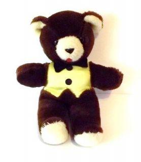 VINTAGE TEDDY BEAR and BOW TIE  YELLOW SATIN VEST 12 TALL X 9 ARM