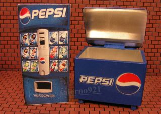pepsi ice cooler and soda vending machine miniature time left