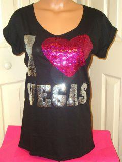 Victorias Secret I LOVE PINK Las VEGAS Bling Sequins Heart T Shirt