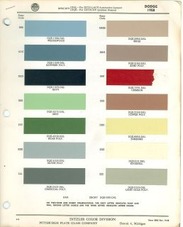 1958 Dodge PPG Paint Color Chart 58 and color change bulletin