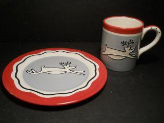 Christmas Dinnerware Fantastic Reindeer Plate & Mug Rudolph Red Nose