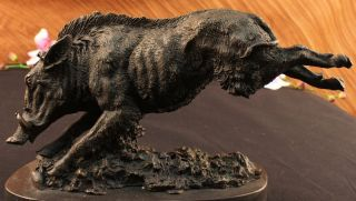 Wild Boar Jumping Bronze Marble Sculpture Statue Figurine Art Deco
